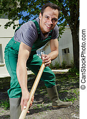 happy man gardening