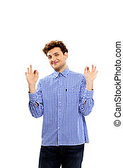 Happy man gesture ok on a white background