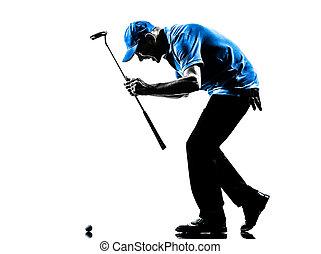 happy man golfer golfing silhouette