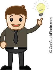 Happy Man Got an Idea Concept