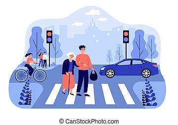 Happy man helping old woman crossing city street