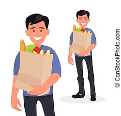 Happy man holding a grocery bag in his hands. Buyer at the supermarket.