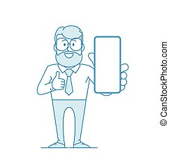 Happy man holds a smartphone in his hand and shows Like.