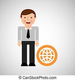 happy man icon globe social network design