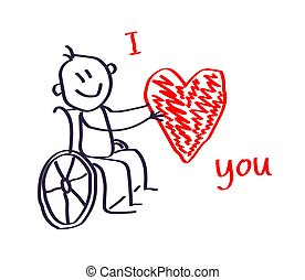 Happy man in a wheelchair holds a big red heart.