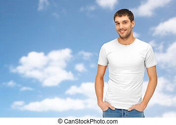 happy man in blank white t-shirt