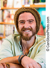 Happy Man in Book Store or Library