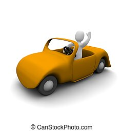 Happy man in cabriolet car. 3d rendered illustration.
