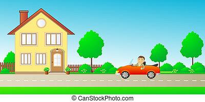 happy man in car cabriolet on road