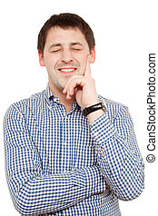 Happy man in casual wear isolated over white.