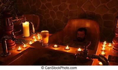 happy man in czech beer spa in prague