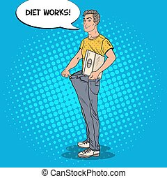 Happy Man in Oversized Jeans with Weights. Dieting Concept....