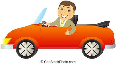 happy man in red cabriolet