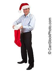 Happy Man in Santa Hat Stocking