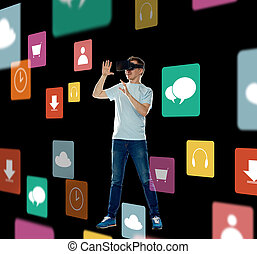 happy man in virtual reality headset or 3d glasses - 3d ...