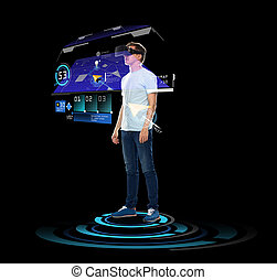 happy man in virtual reality headset or 3d glasses - 3d...