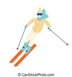 Happy man in winter outerwear skiing down slope. Guy on skis...