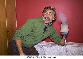 happy man ironing