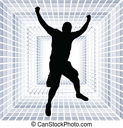 happy man jump with hands up - vector