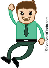 Happy Man Jumping - Office Cartoon