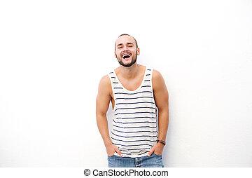 Happy man laughing