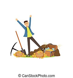 Happy man near pile of treasures