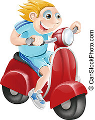 Happy man on his moped - Illustration of a happy man driving...