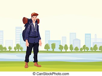 Happy man on the morning walk in the city Park. A tourist with backpack. Vector Illustration.