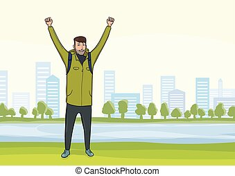 Happy man on the morning walk in the city Park. A tourist with their hands up, a gesture of success to goals. Vector Illustration.