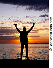 Happy Man outdoor - Happy Man Silhouette with Hands Up on...