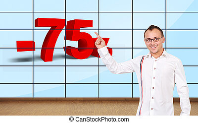 man pointing at discount