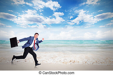 Man running on the beach.