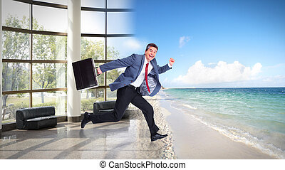 Happy Man running on the beach. Vacation