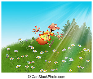 Happy man runs across the field with daisies.