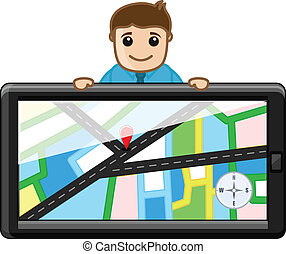 Happy Man Showing Map in Device