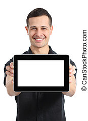 Happy man smiling showing a blank tablet app