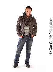 Happy Man Standing on a White Background