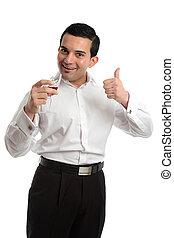 Happy man thumbs up wine
