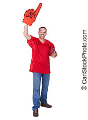 Happy Man Wearing Foam Finger And Holding Rugby Ball On...