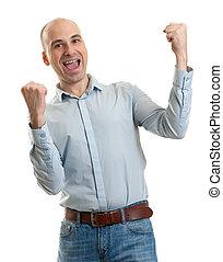 happy man winner gesture