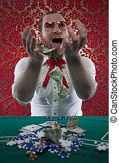Happy Man Wins Gets Rich, Winnings - A man wearing glasses,...