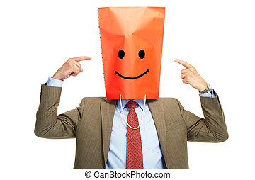 Happy man with a box on a head