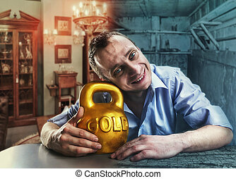 Happy man with a gold kettlebell