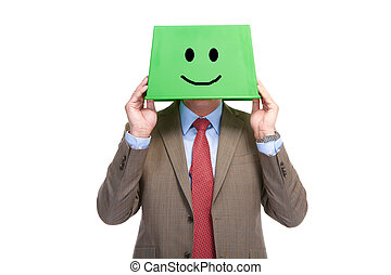 Happy man with a green box on a head
