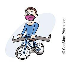 Happy man with bycicle cartoon hand drawn image. Original...