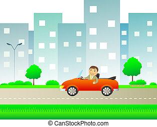 happy man with car cabriolet in cit