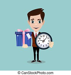 Happy man with clock and and cute gift on background. Vector...