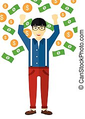 Happy man with flying money. - An asian successful...