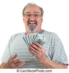 Happy Man With Hand Full Of Money