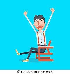 Happy man with hands up cartoon vector